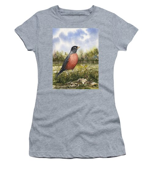 Women's T-Shirt featuring the painting American Robin by Sam Sidders