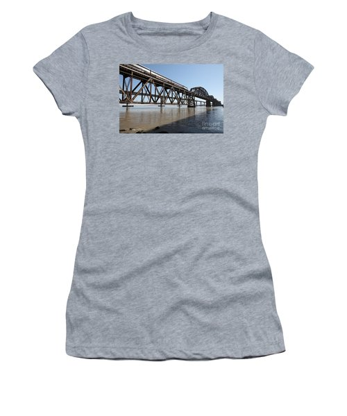 Amtrak Train Riding Atop The Benicia-martinez Train Bridge In California - 5d18829 Women's T-Shirt