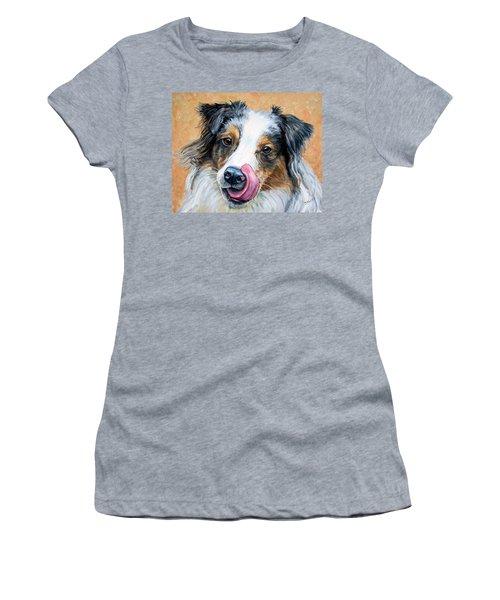 Australian Shepherd Tricolored Tongue On Nose Women's T-Shirt