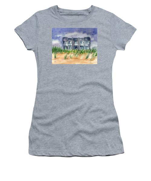 Women's T-Shirt (Junior Cut) featuring the painting Beach House by Clara Sue Beym