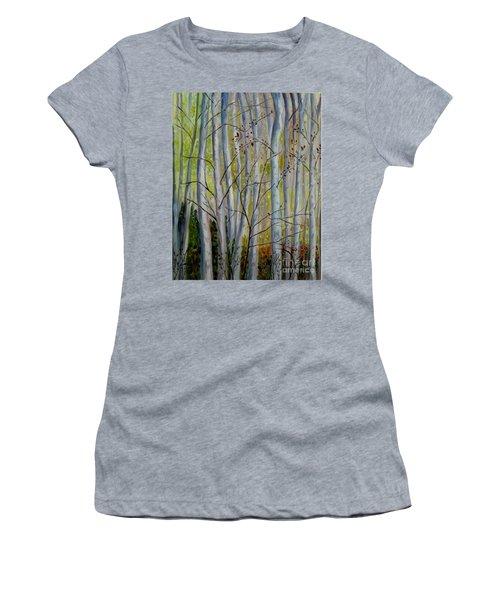 Women's T-Shirt (Junior Cut) featuring the painting Birch Forest by Julie Brugh Riffey