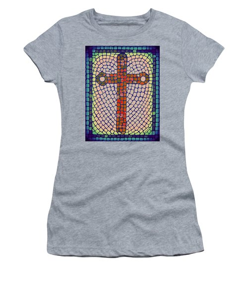 Women's T-Shirt featuring the painting Blue Cross by Cynthia Amaral