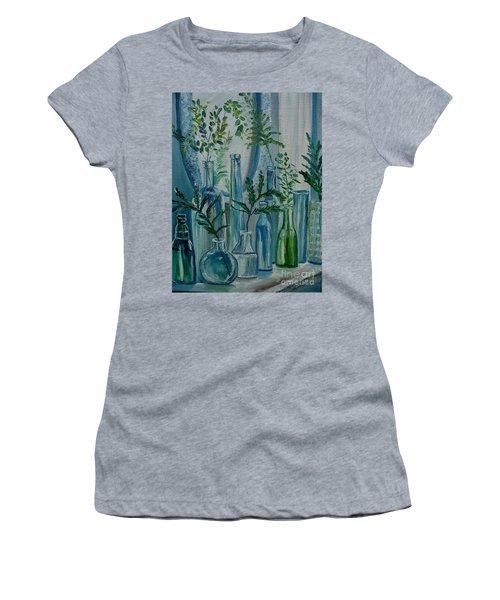 Women's T-Shirt (Junior Cut) featuring the painting Bottle Brigade by Julie Brugh Riffey