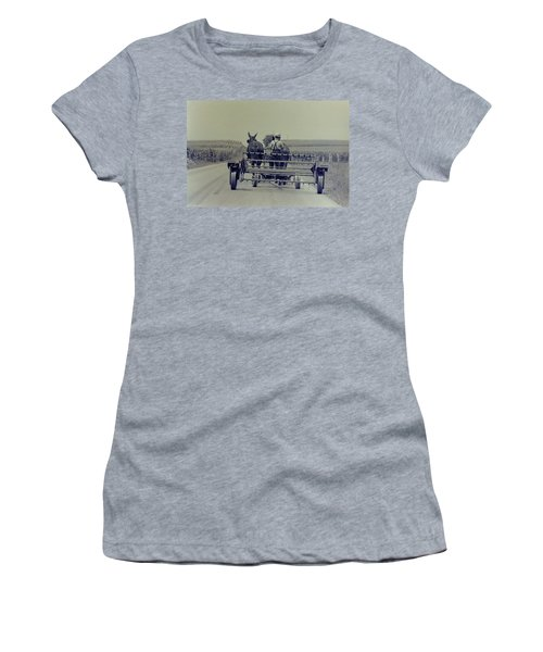 Women's T-Shirt (Junior Cut) featuring the photograph Boy Heads To Work by Mike Martin