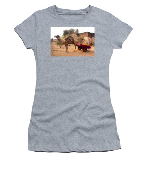 Women's T-Shirt (Junior Cut) featuring the photograph Camel Yoked To A Decorated Cart Meant For Carrying Passengers In India by Ashish Agarwal