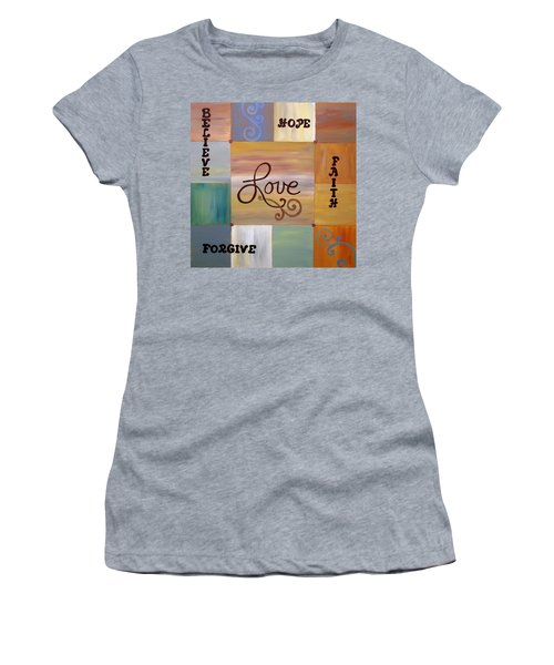 Women's T-Shirt featuring the painting Center Love by Cynthia Amaral