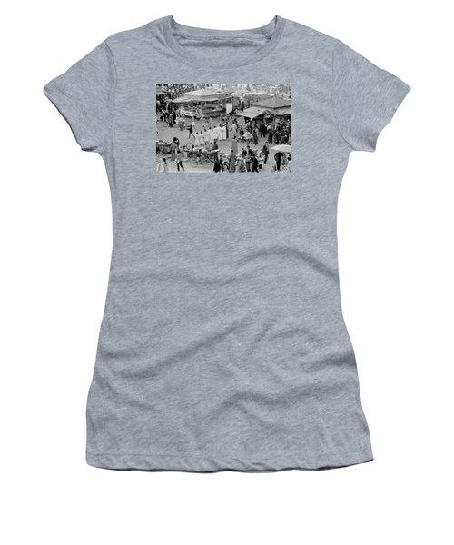 Women's T-Shirt (Junior Cut) featuring the photograph Djemaa El Fna Marrakech Morocco by Tom Wurl