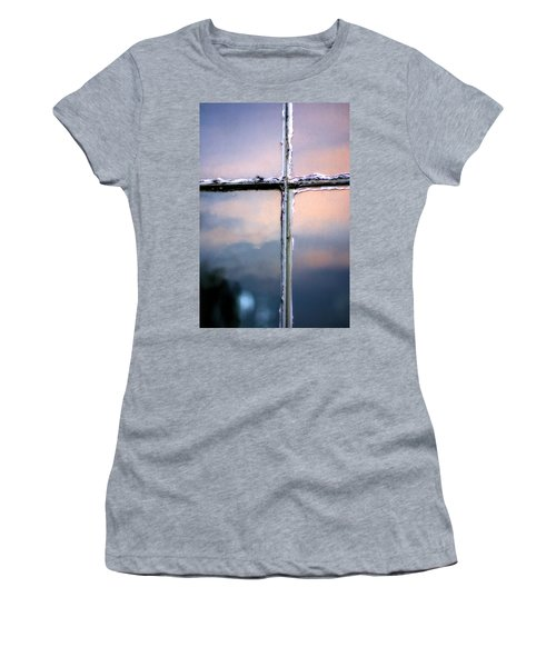 Empty Cross On The Window Of An Old Church Women's T-Shirt