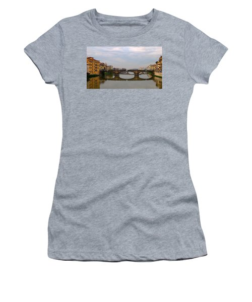 Florence Italy Bridge Women's T-Shirt (Junior Cut) by Catie Canetti