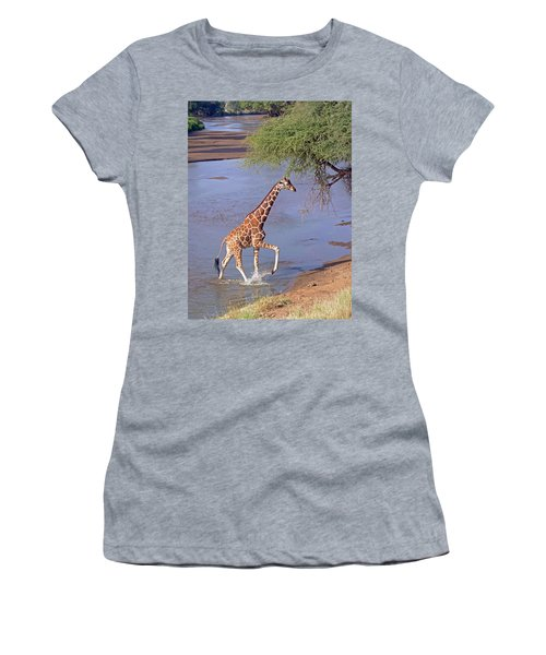 Giraffe Crossing Stream Women's T-Shirt