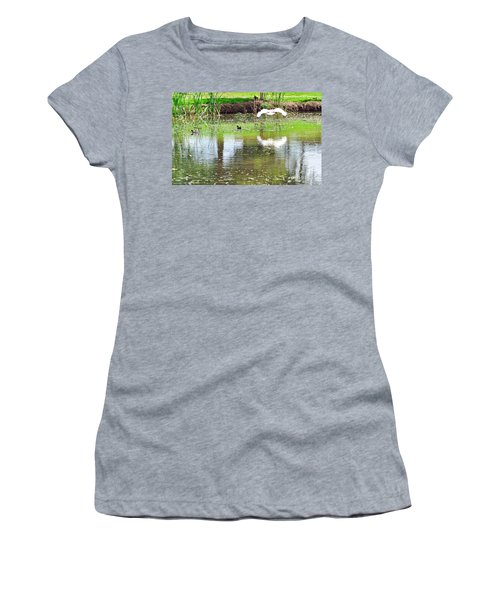 Ibis Over His Reflection Women's T-Shirt (Junior Cut) by Kaye Menner