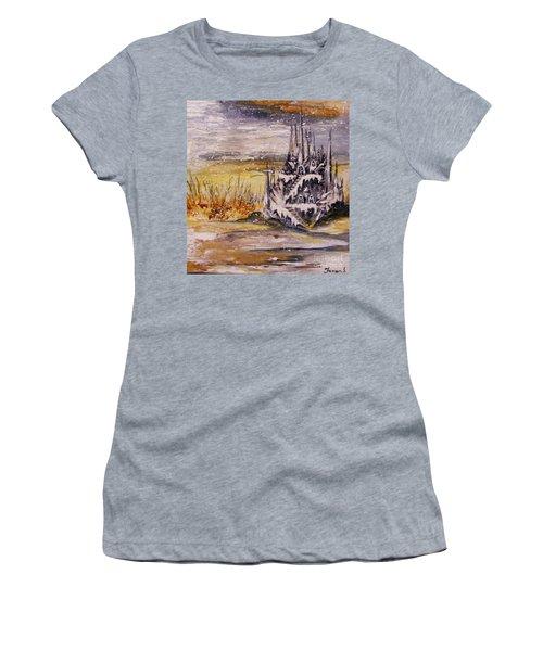 Women's T-Shirt (Junior Cut) featuring the painting Ice Castle by Karen  Ferrand Carroll