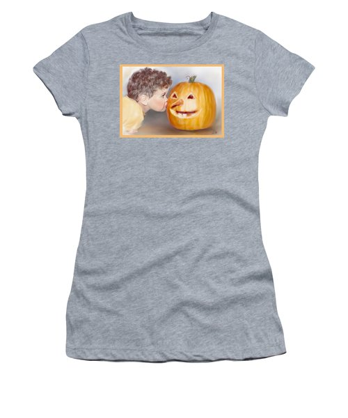 Women's T-Shirt (Junior Cut) featuring the painting Kissy Face by Bonnie Willis
