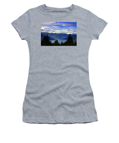 Lake Of Como View Women's T-Shirt (Athletic Fit)