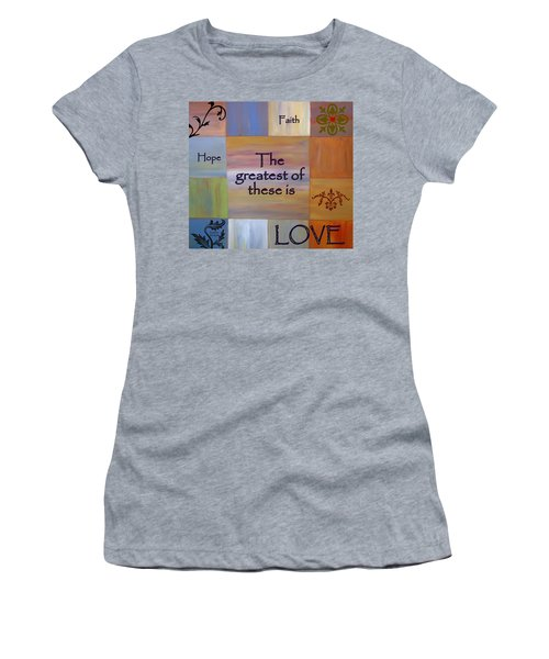 Women's T-Shirt featuring the painting Love Is Everything by Cynthia Amaral