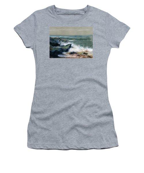 Nature Beach Landscape Of Sea In Storm Blue Green Water White Wave Breaks On Rock Clouds In Sky  Women's T-Shirt (Junior Cut) by Rachel Hershkovitz