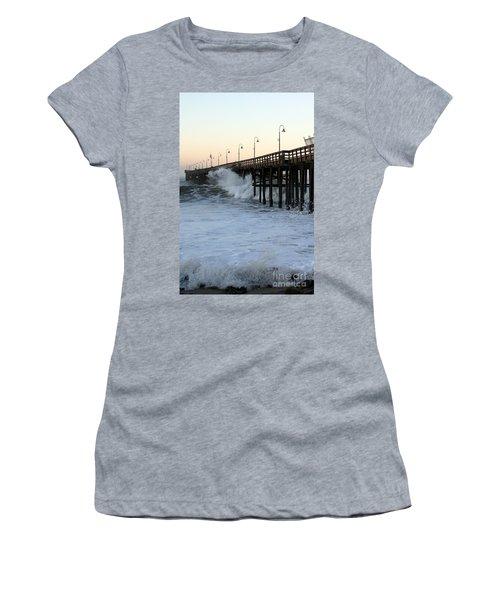 Ocean Wave Storm Pier Women's T-Shirt
