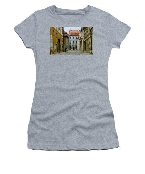Women's T-Shirt (Junior Cut) featuring the photograph Old Street In Bratislava by Les Palenik