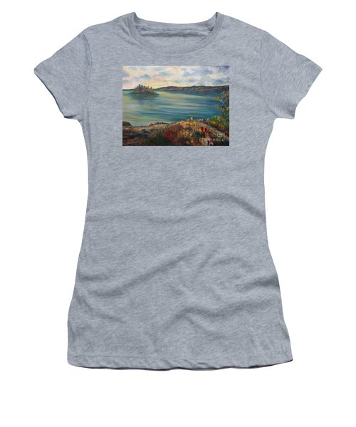 Women's T-Shirt (Junior Cut) featuring the painting Rainy Lake Michigan by Julie Brugh Riffey