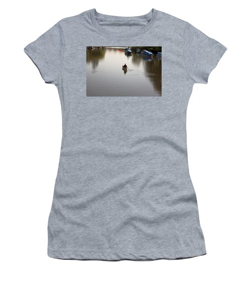 Women's T-Shirt (Junior Cut) featuring the photograph Solo Rowing by Maj Seda