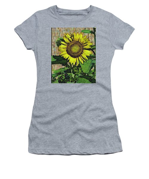 Sunflower Face Women's T-Shirt (Junior Cut) by Alec Drake