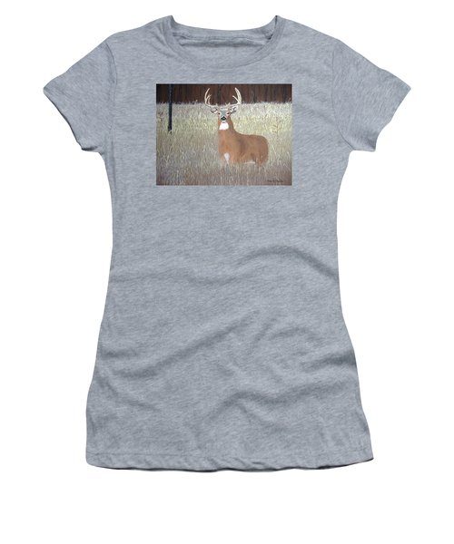 Women's T-Shirt (Junior Cut) featuring the painting The Buck Stops Here by Norm Starks