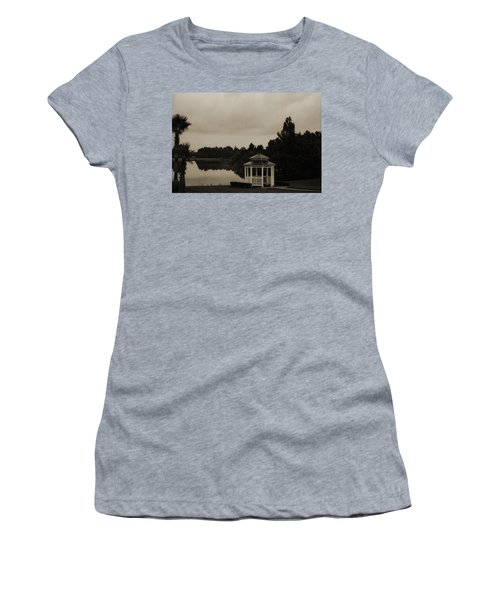Women's T-Shirt (Junior Cut) featuring the photograph The Gazebo At The Lake by DigiArt Diaries by Vicky B Fuller