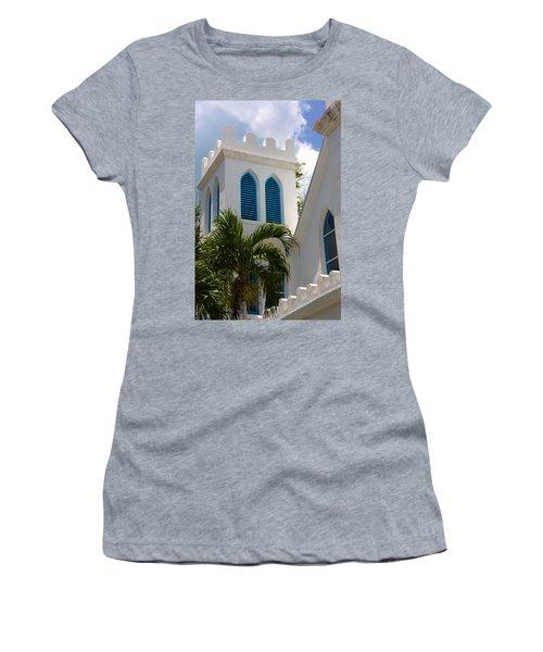 Women's T-Shirt (Junior Cut) featuring the photograph Trinity Presbyterian Church Tower by Ed Gleichman