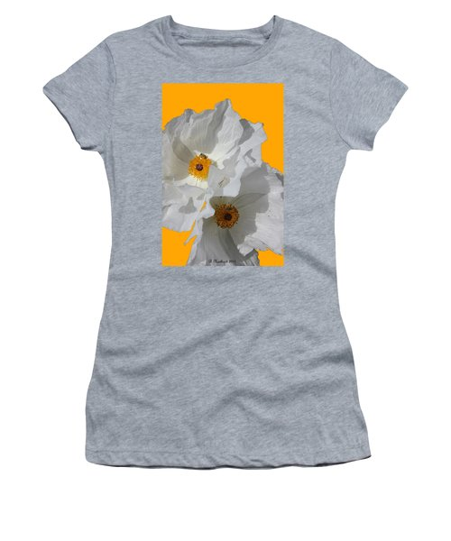 White Poppies On Yellow Women's T-Shirt (Athletic Fit)