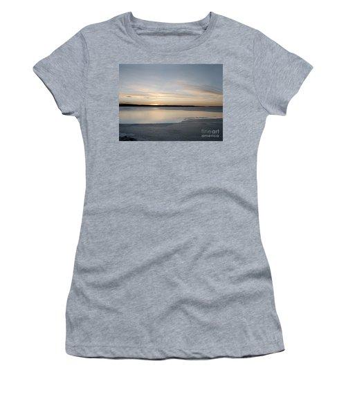 Winter Sunset Over Lake Women's T-Shirt (Junior Cut) by Art Whitton