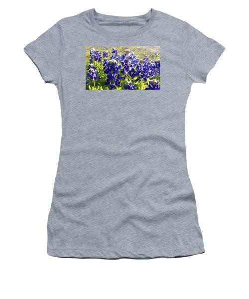 Women's T-Shirt (Junior Cut) featuring the painting  Bluebonnet Morning by Karen Kennedy Chatham