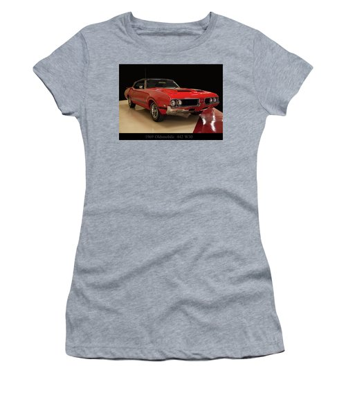 Women's T-Shirt (Athletic Fit) featuring the photograph 1969 Oldsmobile 442 W 30 by Chris Flees