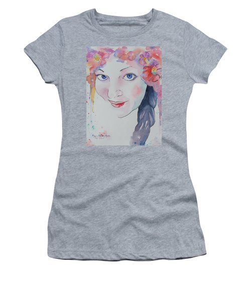 Women's T-Shirt (Athletic Fit) featuring the painting Alisha by Mary Haley-Rocks