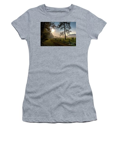 Women's T-Shirt (Athletic Fit) featuring the photograph Cades Cove Sunrise by Douglas Stucky