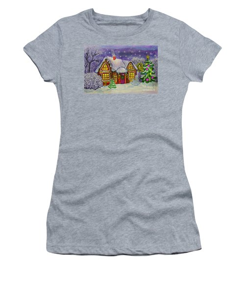 Christmas House, Painting Women's T-Shirt (Athletic Fit)