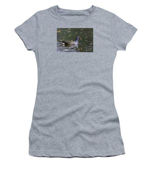 Women's T-Shirt (Junior Cut) featuring the photograph Common Moorhen by Jivko Nakev