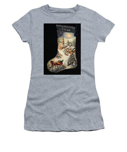 Cross-stitch Stocking Women's T-Shirt (Junior Cut) by Farol Tomson