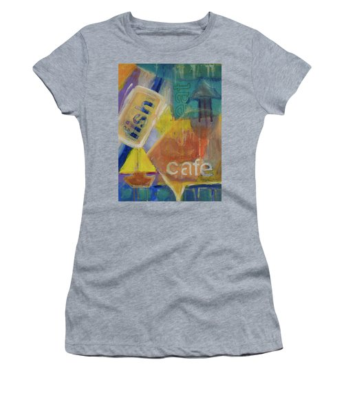 Women's T-Shirt (Junior Cut) featuring the painting Fish Cafe by Susan Stone