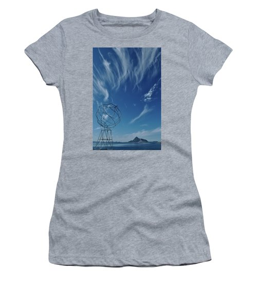 Globe Symbol View  On Sky Background In Norway Women's T-Shirt (Athletic Fit)