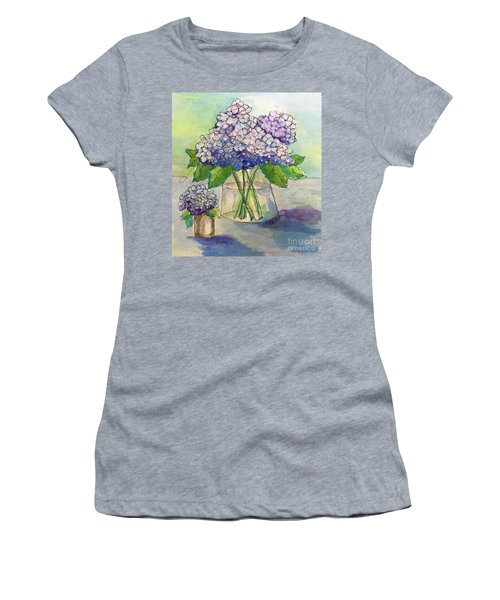 Women's T-Shirt (Junior Cut) featuring the painting Hydrangea  by Rosemary Aubut