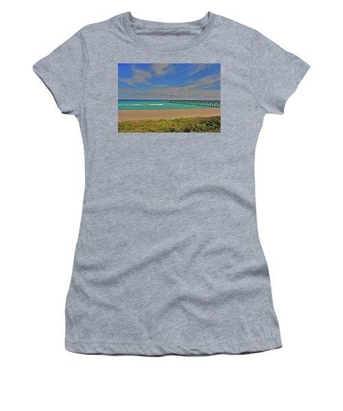 Women's T-Shirt (Junior Cut) featuring the photograph 1- Juno Beach Pier by Joseph Keane