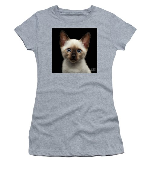 Mekong Bobtail Kitty With Blue Eyes On Isolated Black Background Women's T-Shirt (Junior Cut) by Sergey Taran