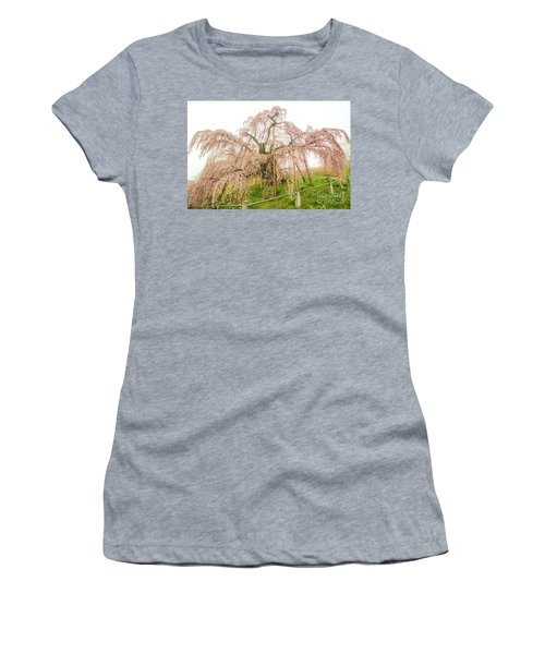 Women's T-Shirt (Athletic Fit) featuring the photograph Miharu Takizakura Weeping Cherry02 by Tatsuya Atarashi