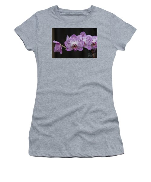 Orchids On Black Women's T-Shirt (Athletic Fit)