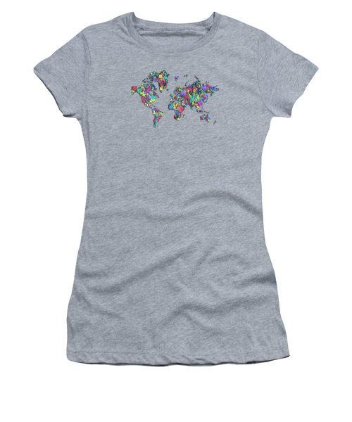 Pop Art World Map - Splashes Women's T-Shirt