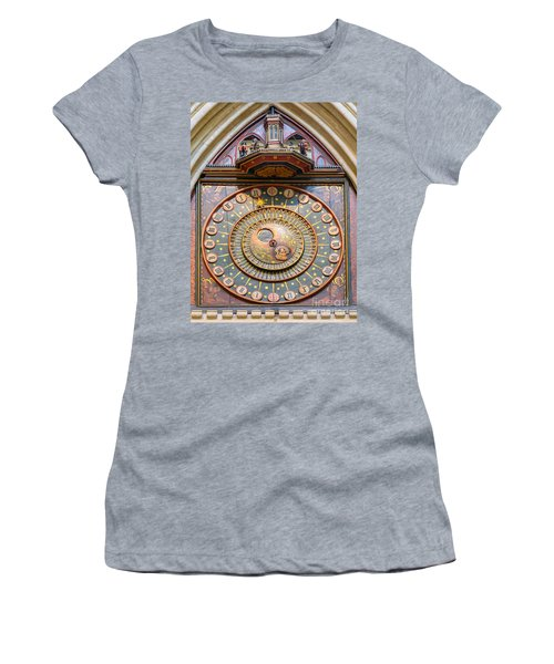 Wells Cathedral Clock Women's T-Shirt (Junior Cut) by Colin Rayner