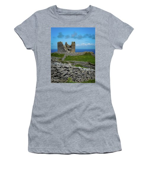 Women's T-Shirt (Athletic Fit) featuring the photograph 14th Century O'brien's Castle Aran Islands by James Truett