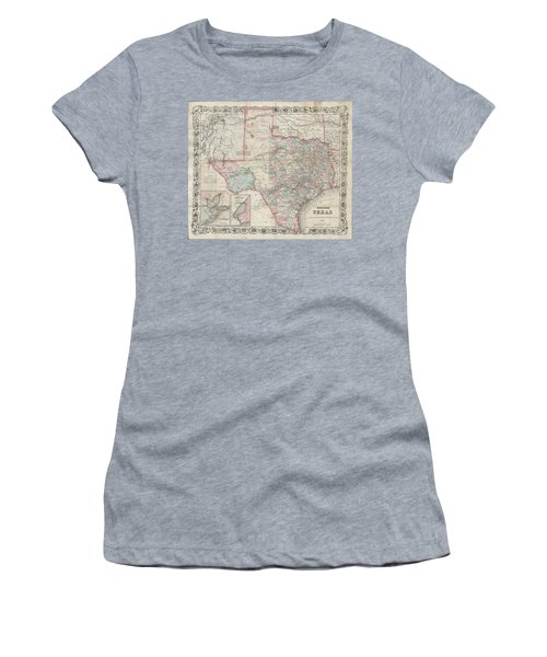 1870 Colton Pocket Map Of Texas Women's T-Shirt (Athletic Fit)
