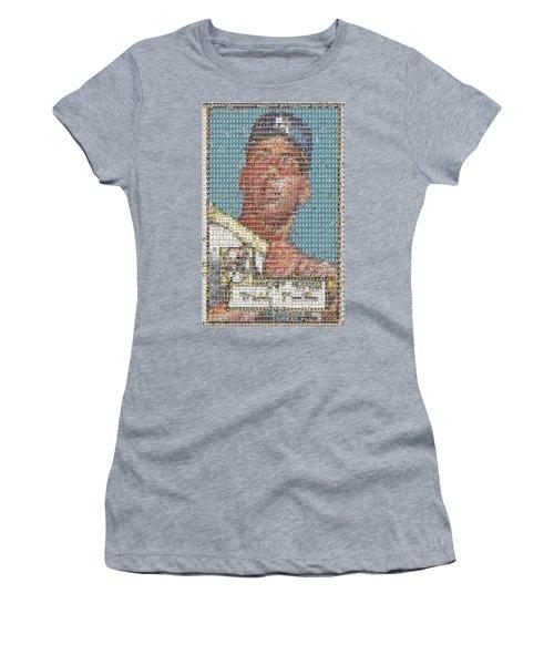 1952 Topps Mickey Mantle Rookie Card Mosaic Women's T-Shirt (Junior Cut) by Paul Van Scott