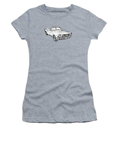 1965 Red Ford Mustang Convertible Drawing Women's T-Shirt (Junior Cut) by Keith Webber Jr